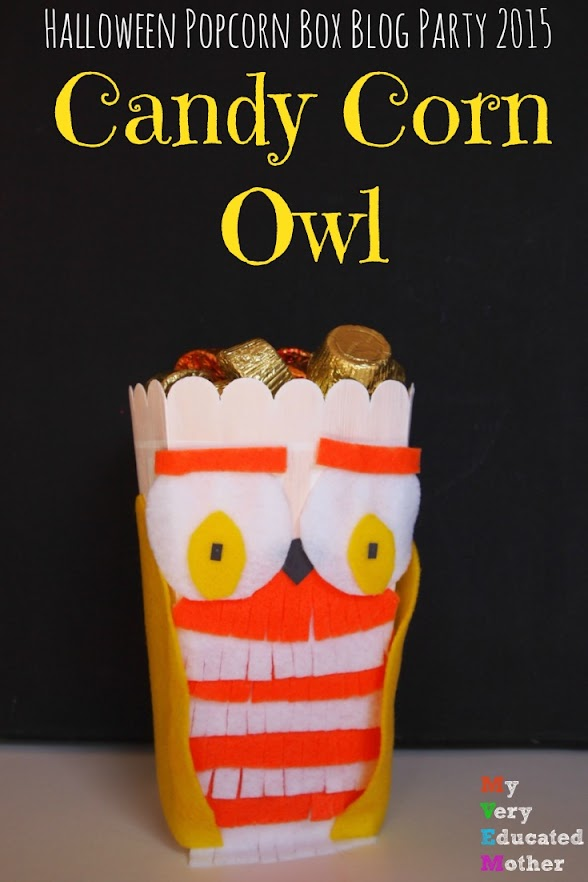 Halloween Popcorn Box Blog Party 2015: I turned my popcorn box into a cute candy corn inspired owl candy dish!