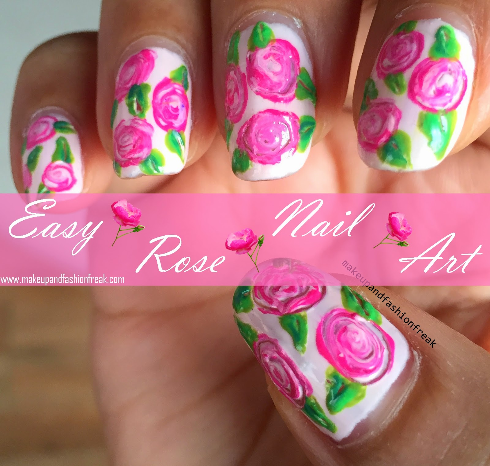 Makeup And Fashion Freak Easy Freehand Rose Nail Art Picture