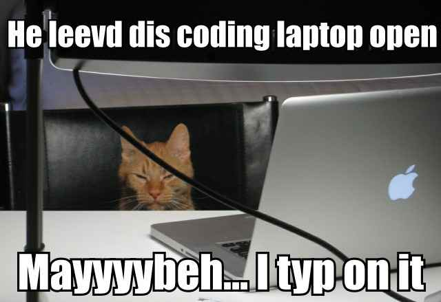 He leevd dis coding laptop open.  Mayyyybeh... I typ on it