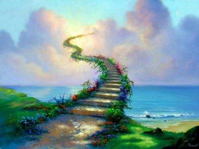 CANÇÃO A CAMINHO DO CÉU ( CECILIA MEIRELES) En PORTUGUÉS, con traducción al ESPAÑOL... Caminho-estrada-com-escadas-ladeadas-de-flores-rumo-ao-ceu-mar-lindooo-fundo