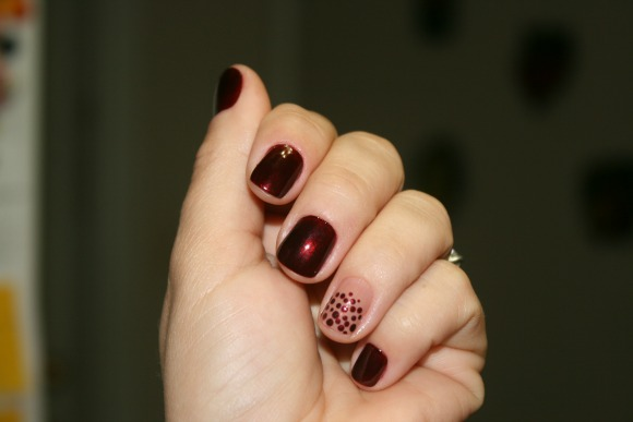Flirt from Sally Hansen nail polish, oxblood Rebu from Risque nail polish