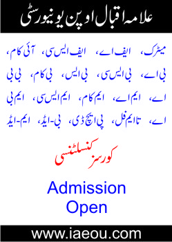 Allama Iqbal Open University Courses