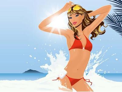 دراسة: البكيني يساعد في تنشيط مُخ الرجل - bikini cartoon
