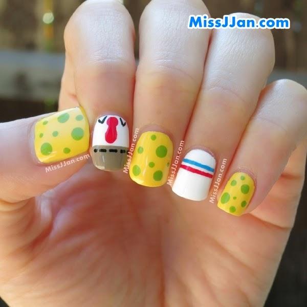 Tutorial Spongebob Squarepants Inspired Nail Art