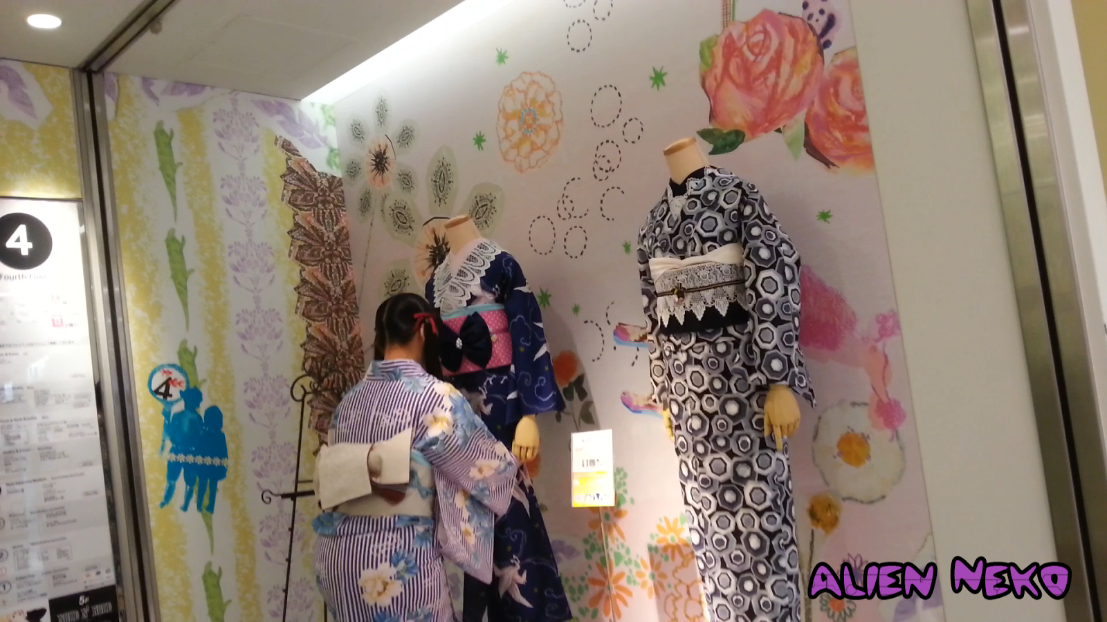 Modern Kimonos being placed