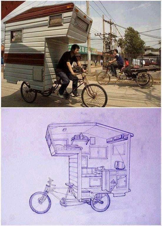 Mini casa rodante en una bicicleta
