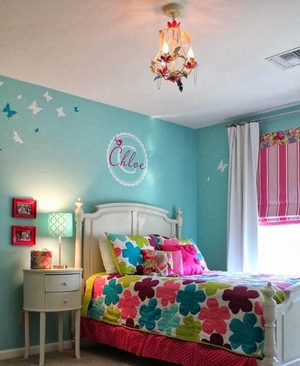 juveniles decoradas en azul dormitorio para chica adolescente con paredes turquesa y acentos de