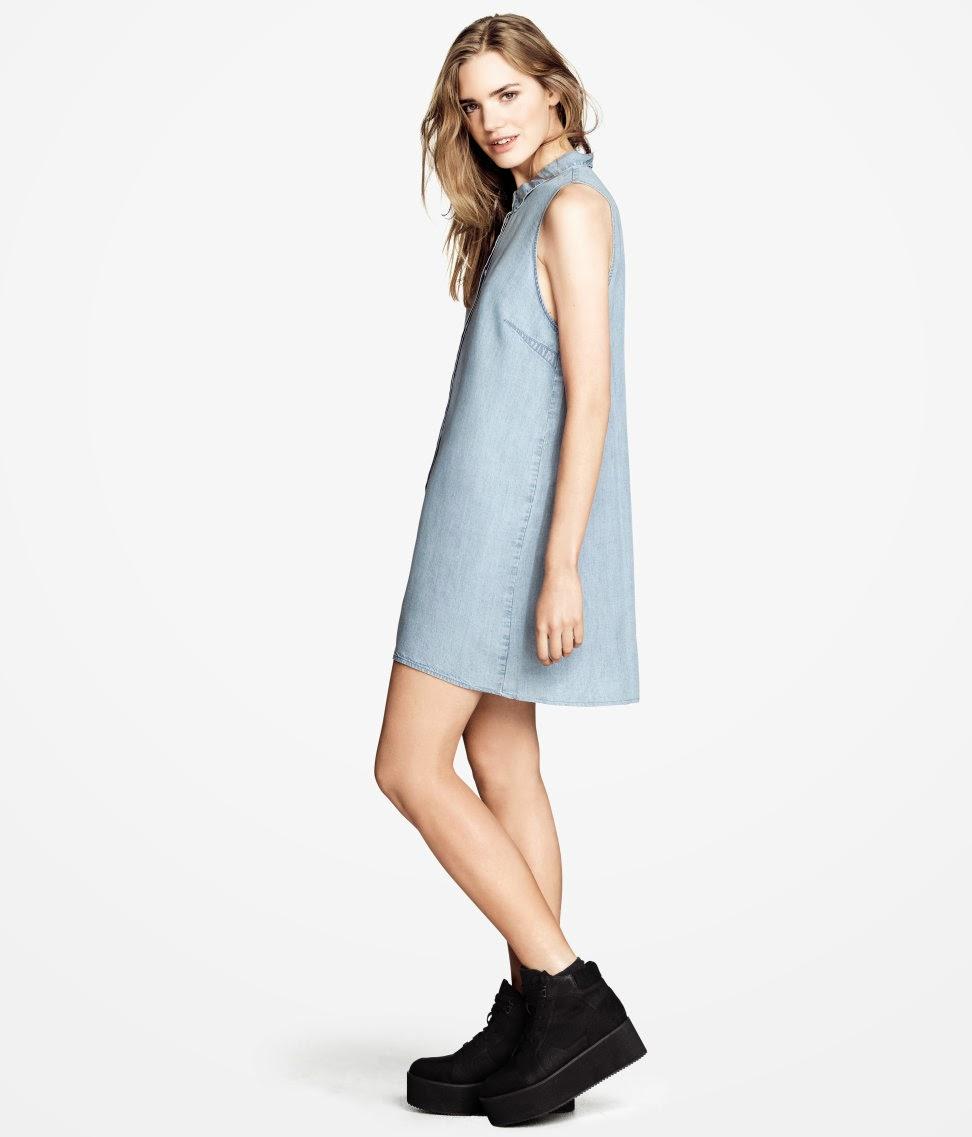 denim+elbise H & M 2014 Sommer Kleidung Models
