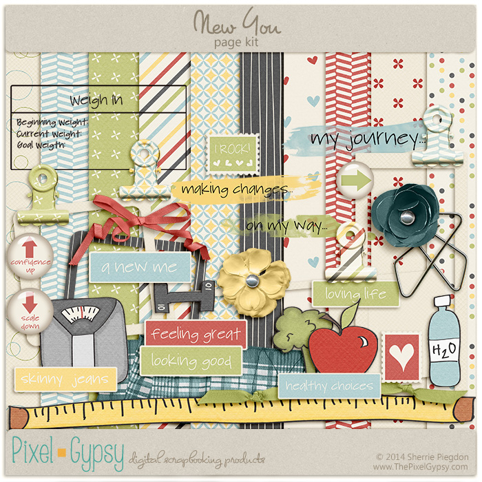 New You Digital Scrapbooking Page Kit