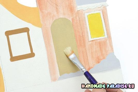 Роспись вешалки с домиками из фанеры
