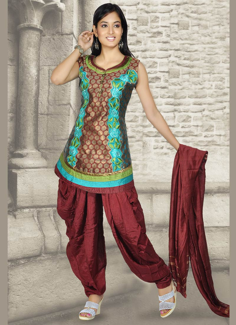 Royal Maroon Patiala Suit With Blended Cotton Fabric Ladies Fashion Style