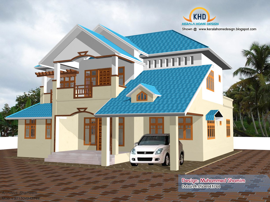 Beautiful home elevation design in 3d kerala home design for Home design front side