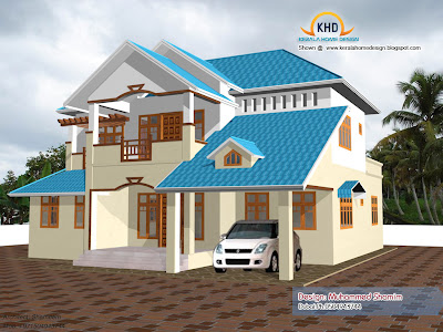 Beautiful Home elevation design in 3D   Kerala home design and