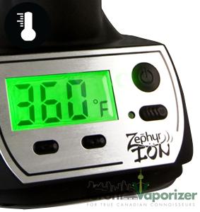Close Up of Zephyr Ion Digital Display - Temperature Flexibility