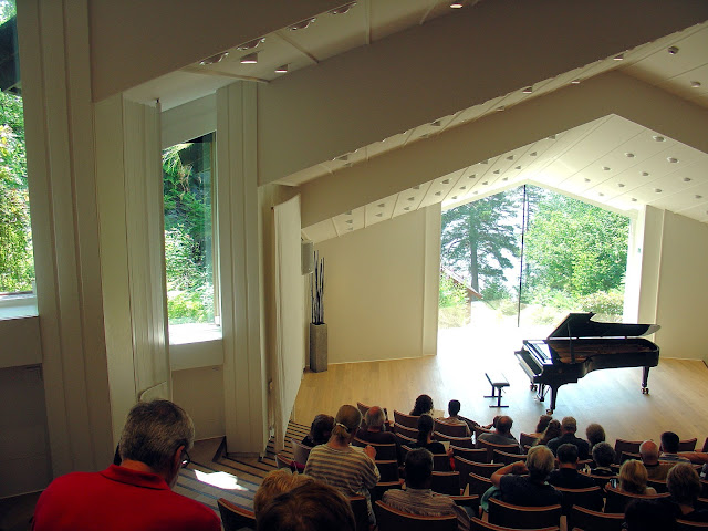 Interior of the Edvard Greig concert hall with a view out to the lake—truly one of the most beautiful halls I have ever seen.