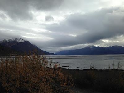 snowy mountains and shoreline outside Anchorage, Alaska