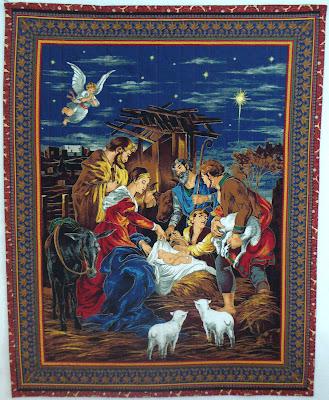 image nativity scene christmas quilt angels jesus mary joseph shepherds