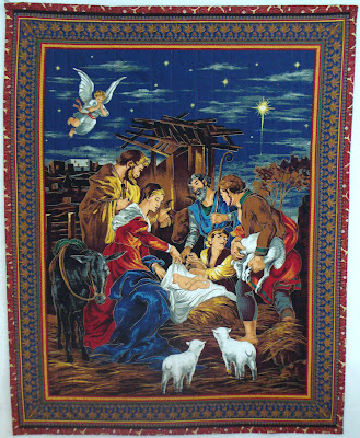 image nativity scene christmas quilt angels jesus mary joseph shepherds
