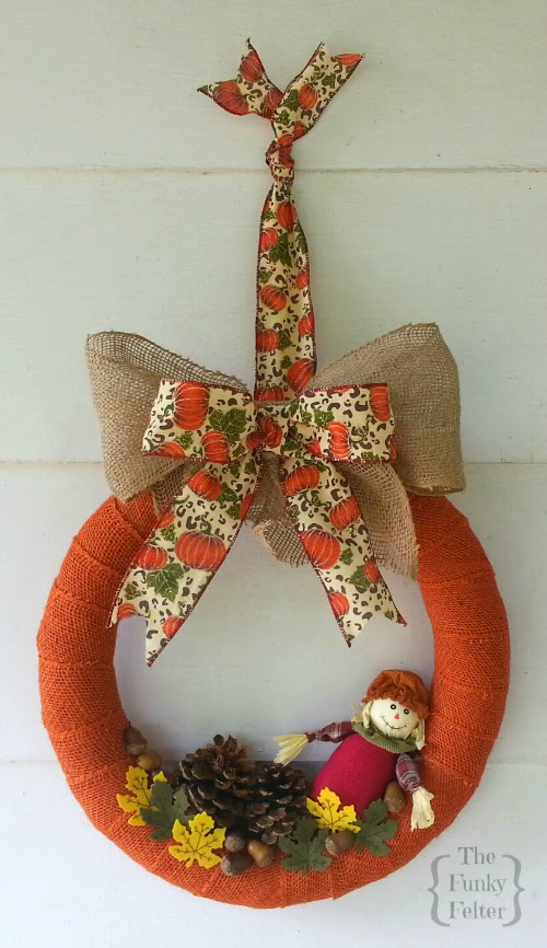 burlap and scarecrow orange wreath for autumn by the funky felter