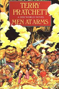 """Cover of """"Men at Arms"""", a novel by Terry Pratchett"""