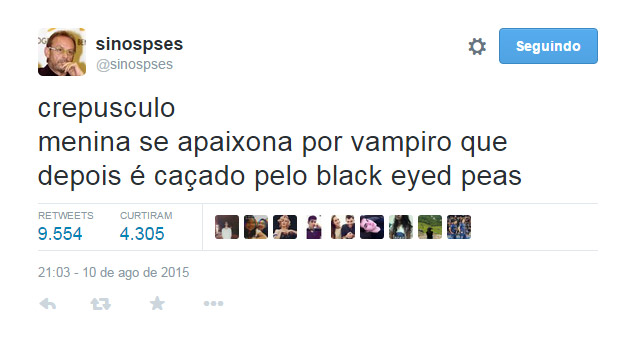 print do twitter @sinopses sobre o filme crepusculo