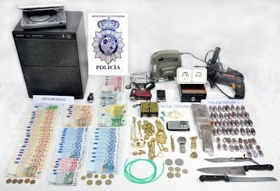 objetos, drogas yarmas incautadas en Béjar