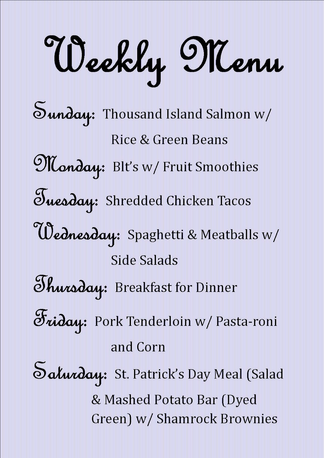 Weekly Menu: March 11-17 - Pretty Providence