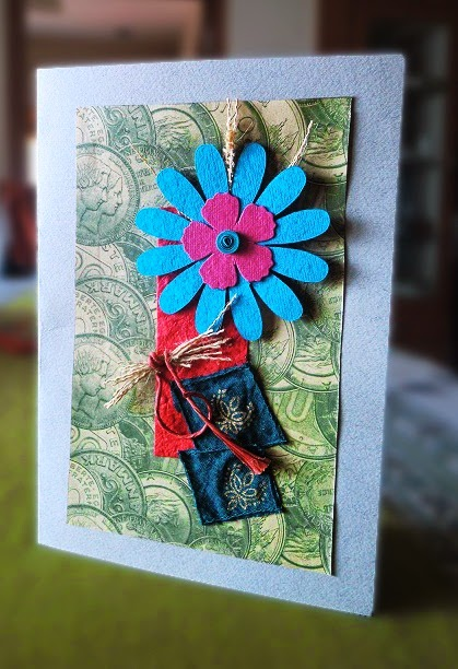Recycled Fabric hand-made Greeting Card