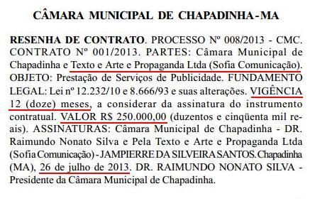 Câmara de Chapadinha (MA) contrata empresa por 250 Mil