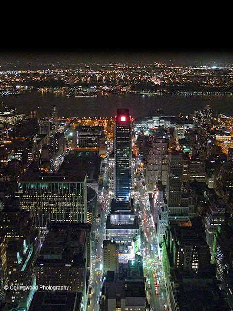 New York at Night - Bird's eye view towards the East River