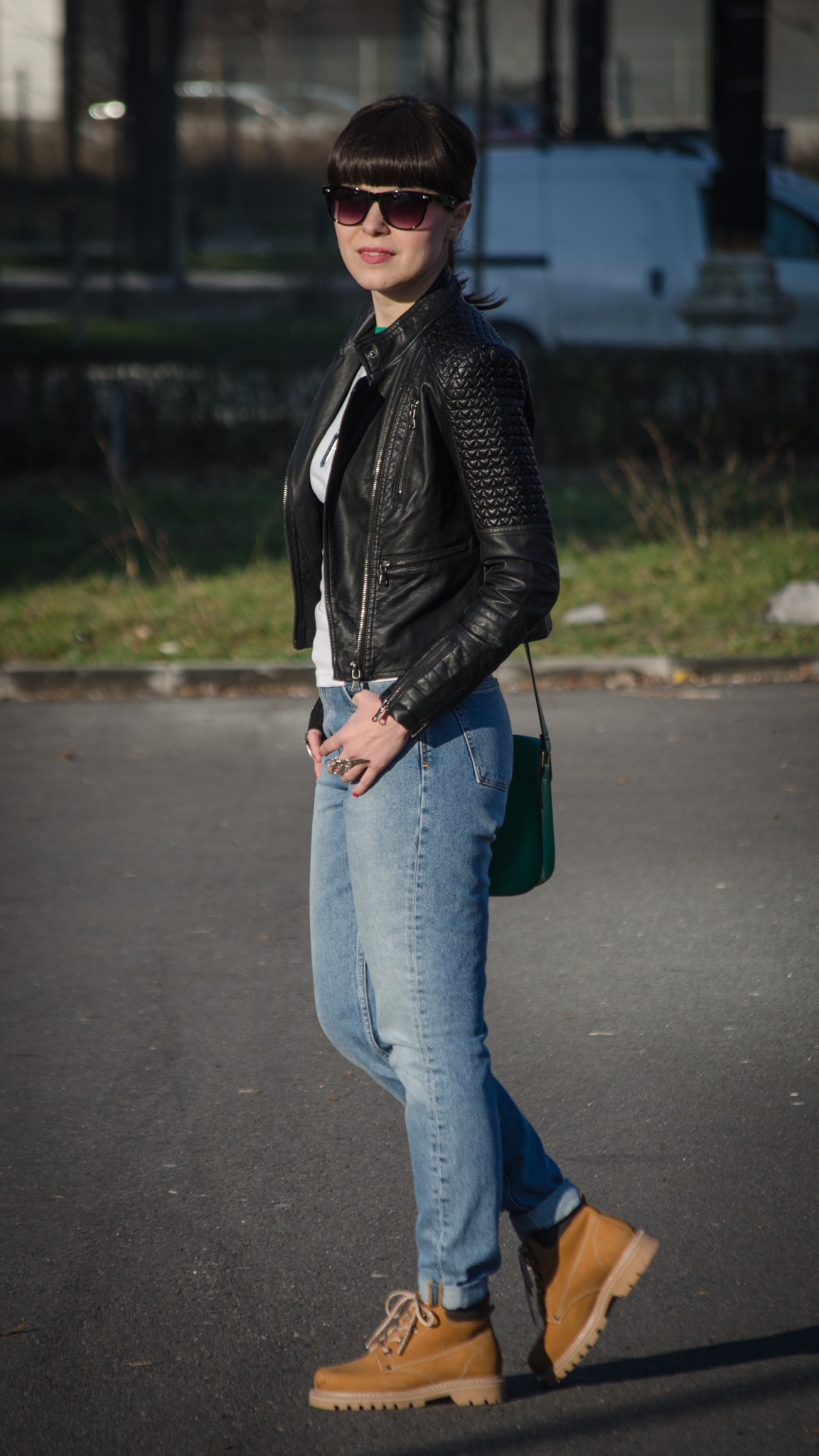 leather jacket new yorker green satchel bag tonka jeans mom jeans h&m worker camel boots romanian producer green white sheinside top bangs rocking rocker coca-cola dog tag