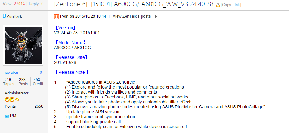 Cara Update Firmware Lollipop Zenfone 6 WW/TW 3.24.40.78 Terbaru