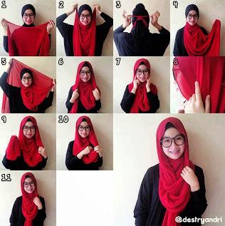 contoh cara pakai jilbab sekolah merah