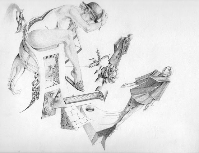 Dolobo drawing, graphite, fantasy art, figurative drawing