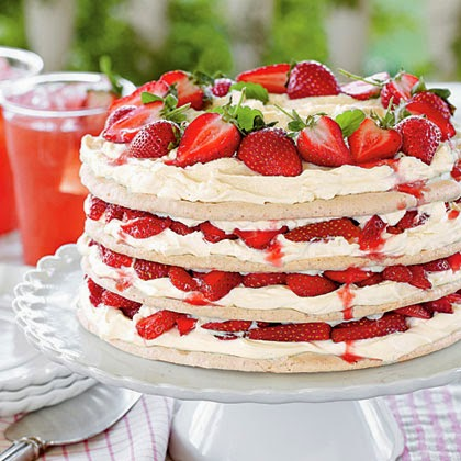 Fresh Strawberry Meringue Cake recipe  from Southern Living