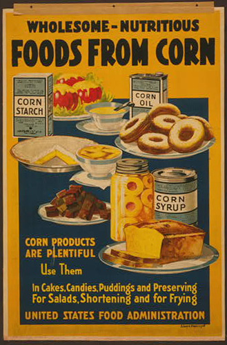 wwii, food and drug administration, food, advertising, vintage, vintage posters, graphic design, free download, retro prints, classic posters, Wholesome Nutritious Foods from Corn - Vintage Food Administration Advertising Poster