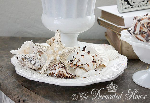 The Decorated House ~ Summer Decorating with Shells - Milk Glass