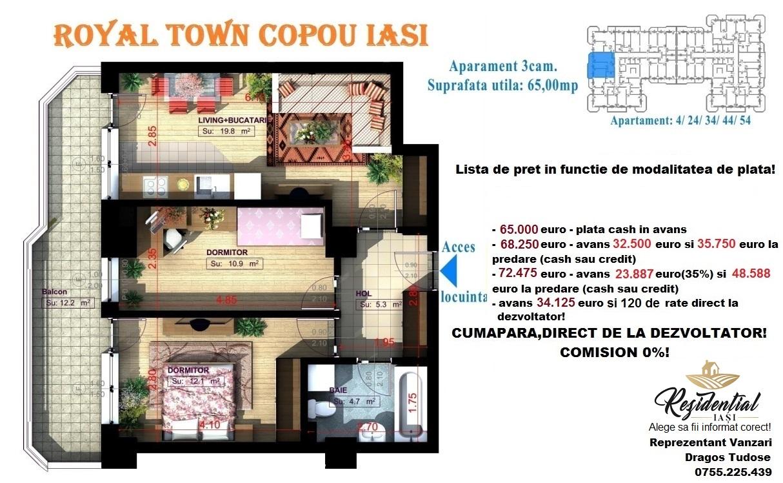 Apartament 3 camere - 65 mp