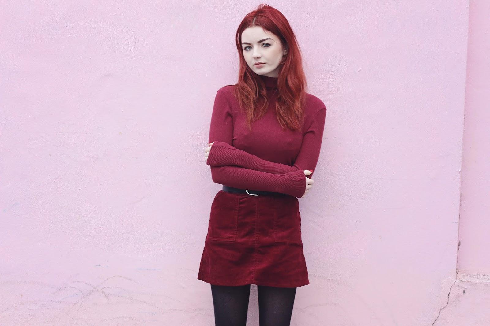 burgundy top skirt boots