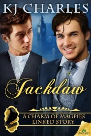 Cover art for Jackdaw, featuring two dark-haired white men in Victorian clothing against a blue background.