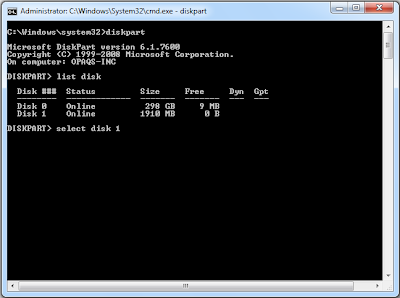 Using diskpart to create a bootable USB drive for installing windows