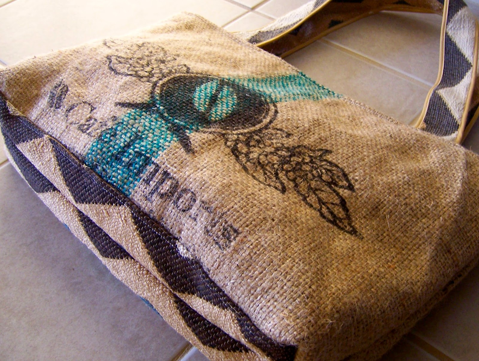 Bean burlap tote bag - Lina and Vi Plymouth MI bottom view