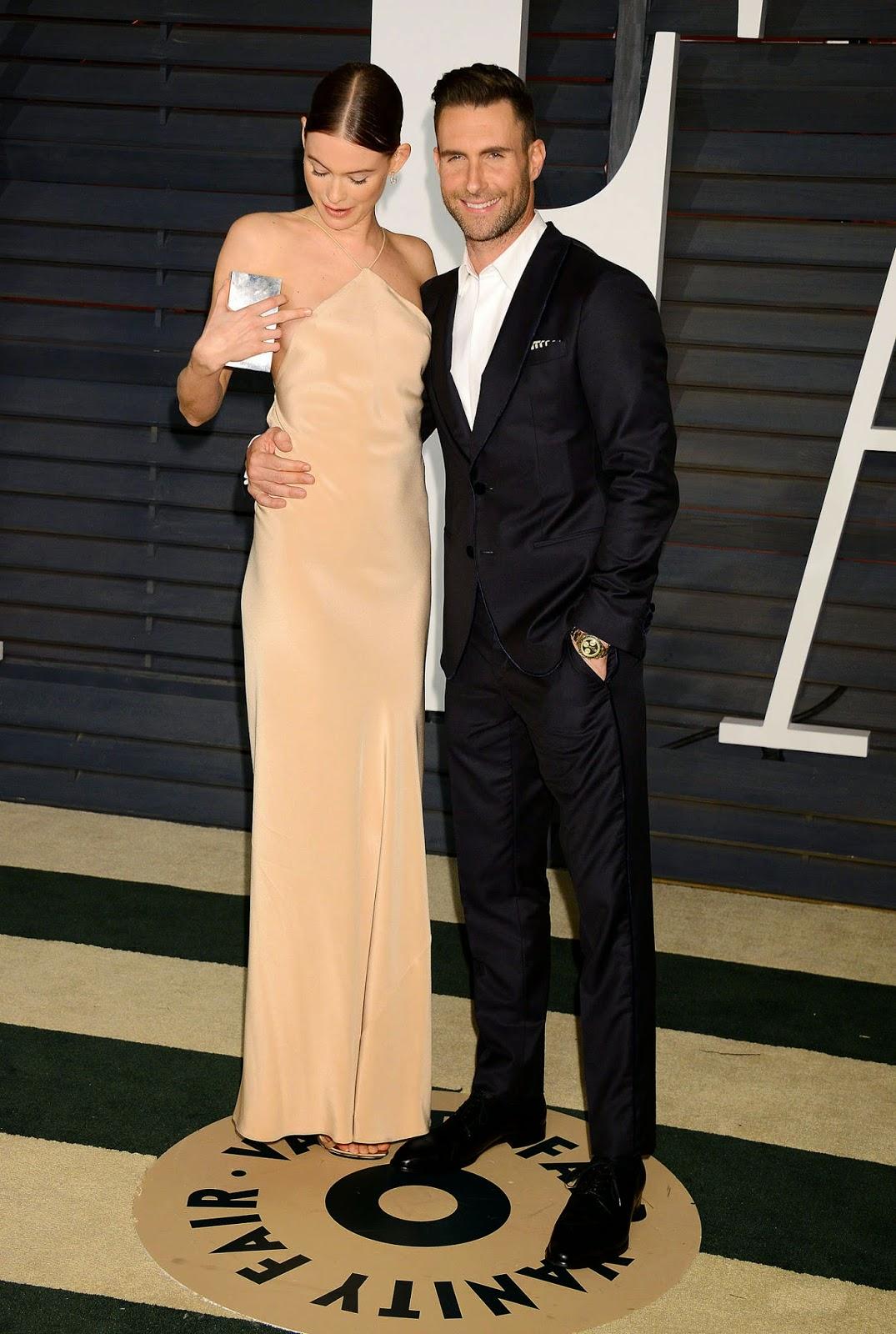 Behati Prinsloo suffers nip-slip at the 2015 Vanity Fairs Oscars Party in Hollywood