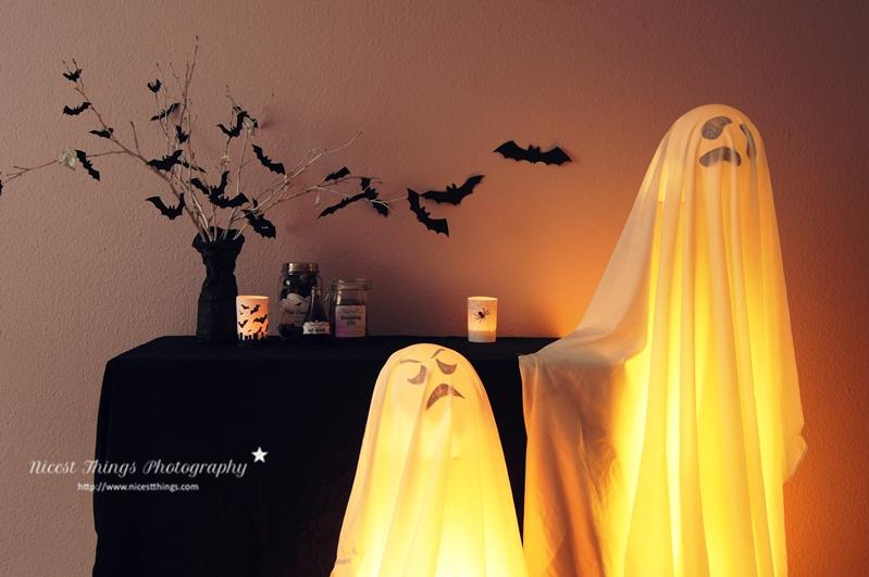 Halloween Deko DIY leuchtende Geister