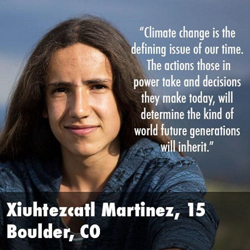 Climate change is the defining issue of our time.  The actions those in power take and decisions they make today will determine the kind of world future generations will inherit. (Credit: www.facebook.com/iheartcomsci)