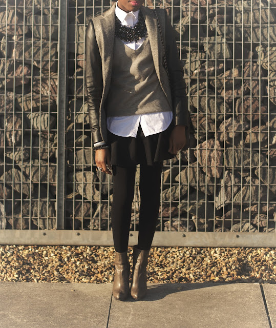 Inch2ThePoint, Zara faux leather sleeve blazer, black skater skirt River Island
