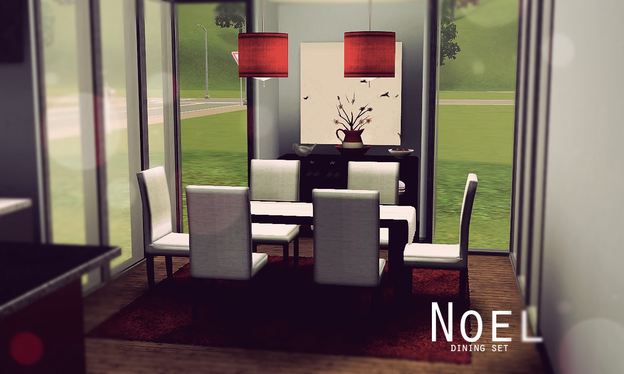 Noel dining set onyx sims for Sims 3 dining room ideas