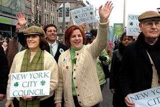 Christine Quinn marches with her wife Kim and her father in Dublin's St Patrick's Day Parade