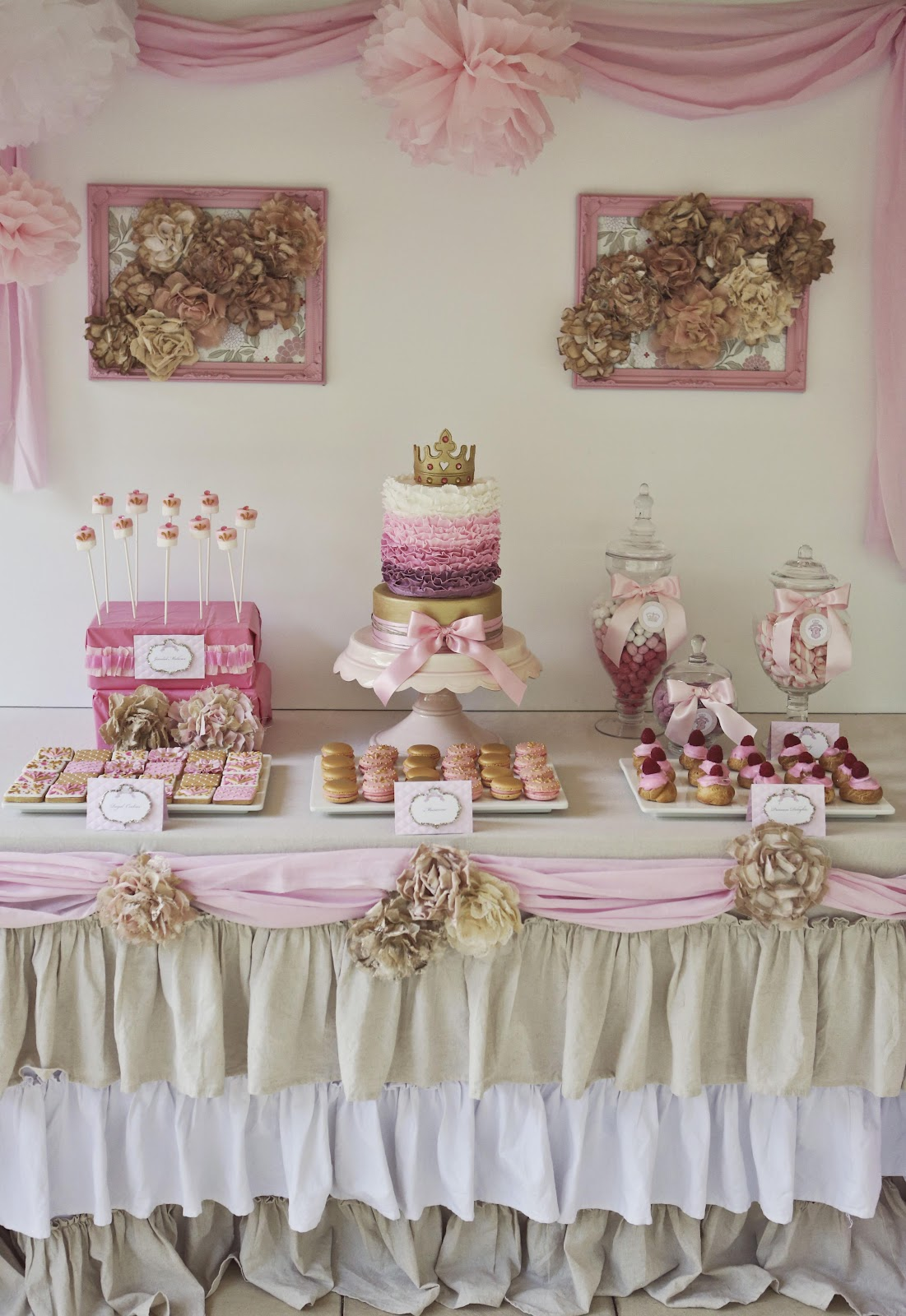 Bubble and sweet pink shabby chic princess party for for Tableaux shabby chic