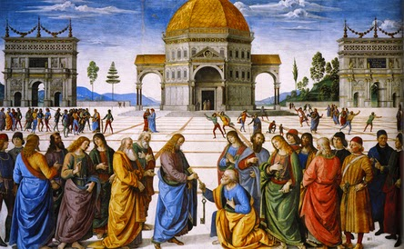 """Christ Handing the Keys to St. Peter by Pietro Perugino"" by Pietro Perugino - http://surveyofwesternart.haloslinkup.net/studymaterial/276_delivery_keys.jpg. Licensed under Public domain via Wikimedia Commons - http://commons.wikimedia.org/wiki/File:Christ_Handing_the_Keys_to_St._Peter_by_Pietro_Perugino.jpg#mediaviewer/File:Christ_Handing_the_Keys_to_St._Peter_by_Pietro_Perugino.jpg"